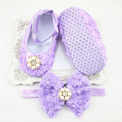 - 0-12 Months Newborn Baby Girl Shoes white baptism Toddler Infant Fabric Booties Flower Headband Set Pearls Lace Princess KU31 -   jetcube
