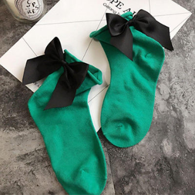- 1 Pair Fashion Style Women Cotton Socks with Big Bow Solid Casual Female Short Socks Cute BowKnot chausette femme - Army Green  jetcube