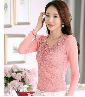 - 2016 Fashion Solid Floral Lace Shirts Women Blouses Long Sleeve V Collar Chiffon Shirt Plus Size Tops S-4XL NS2289 - Pink / 4XL  jetcube