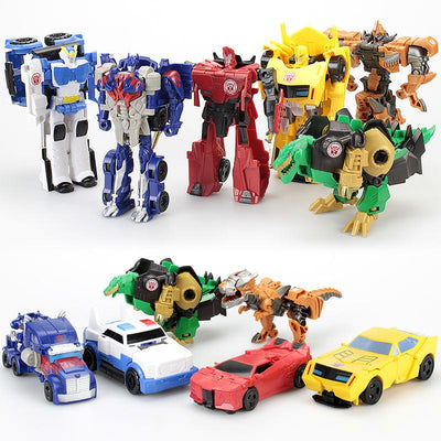 - 12CM Mini Pocket Funny Transformation Toys Deformation Cars Animals Robots Model Bumble Bee / Dinosaur Children Toys - 6PCS SET  jetcube