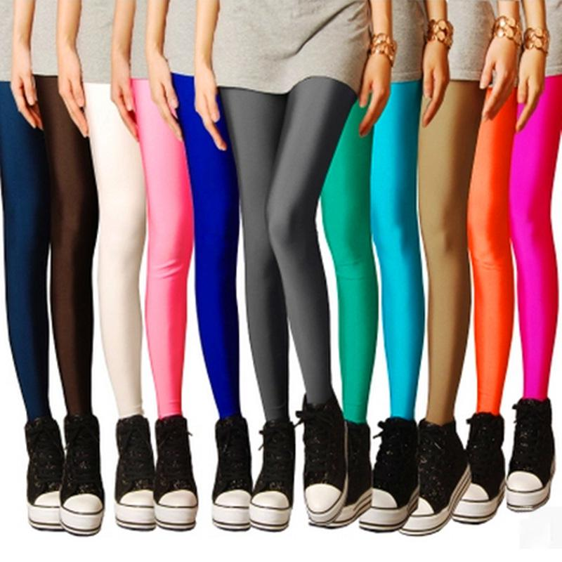 - 15 Candy color leggings for women Spring Summer Black blue red Thin Stretch leggings ladies Slim Skinny Leggings pencil Pants -   jetcube