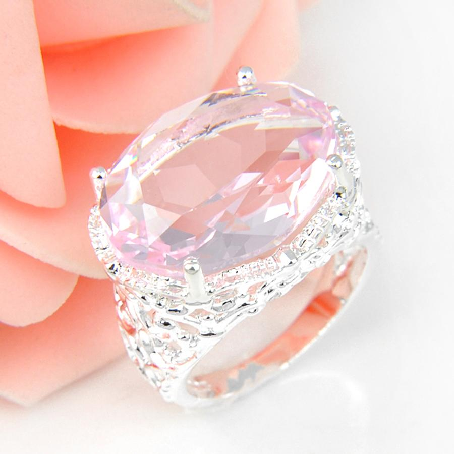 Promotion Oval Pink Fire Crystal Silver Plated Wedding Rings Russia ...