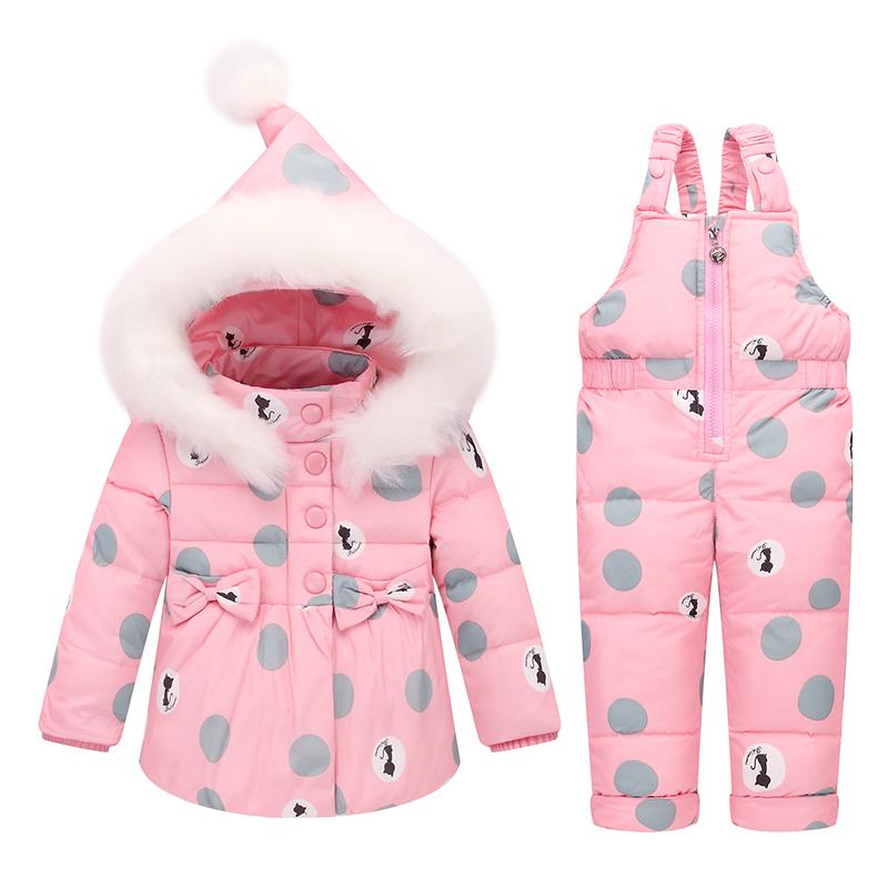 2017 Winter Warm Kids Jumpsuit Baby Snowsuit Nature Fur 90% Duck Down Jacket Coats Winter Park for 2-4yrs Children Overalls  UpCube- upcube