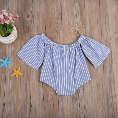 - 0-18M Toddler Baby Boys Girls Cotton Tube Top Trumpet sleeves Romper Vertical stripes Jumpsuit Sunsuit Clothes Outfits -   jetcube