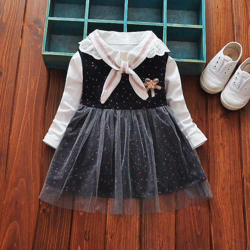 2017 Autumn Spring Casual Long Sleeve Baby girls kids Children Cute lace neck t-shirt+ print Mesh tank princess Dress C001