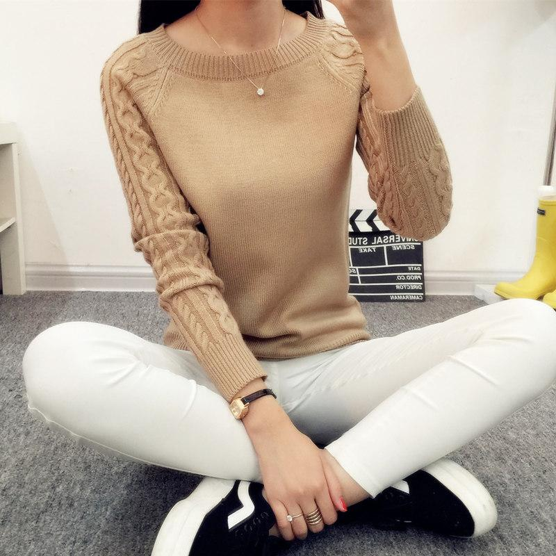 2017 Autumn pullover short paragraph female spring new Slim bottoming shirt ladies sweater coat sweater tide