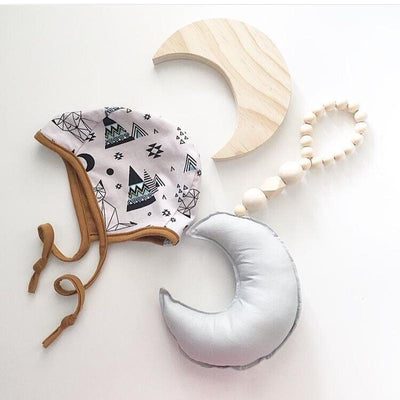 Moon Star Baby Wood Teethers Bedding Room Decoration Newborn Stroller Hanging Toy Baby Photograph Props