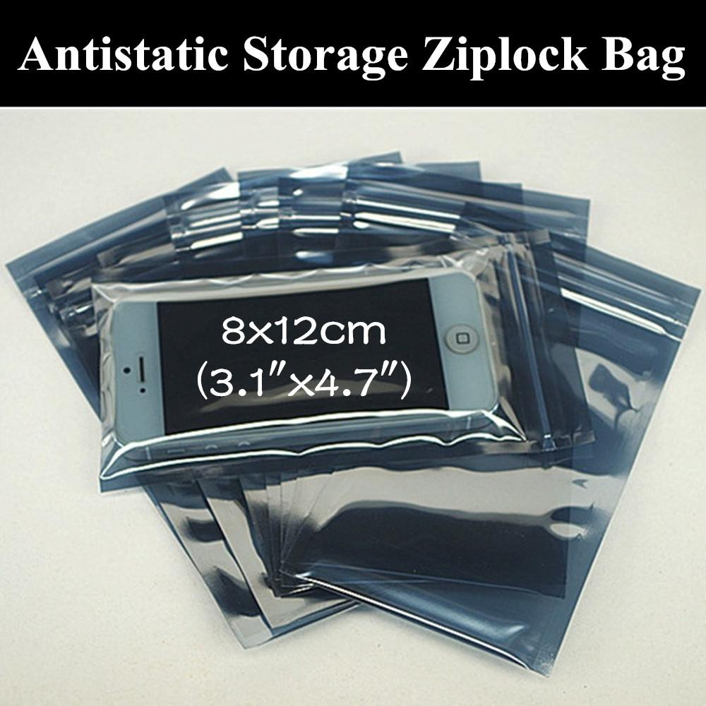 "- 100pcs 8x12cm (3.1""x4.7"") Anti Static Shielding Bag Anti-Static ESD Bag Ziplock Waterproof Self Sealed Antistatic Package Bag -   jetcube"