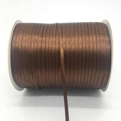 "- (20Yards/lot)1/8"" 3mm Silk Satin Ribbon Polyester Ribbon Wedding Christmas Party Decoration DIY Gift Packing - Brown  jetcube"