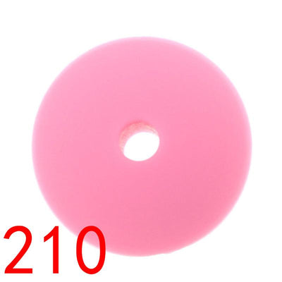 - 100pcs Flat Lentils Silicone Teething Beads Teething Necklace Abacus Silicone Bead Baby Teether Spacer Beading12*6MM JETM.HH - by020210Pink  jetcube
