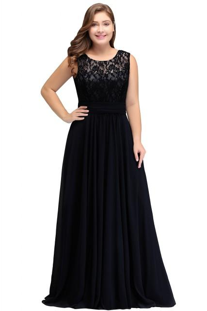 Evening Dress Plus Size Sleeveleless Lace Chiffon Evening Dresses