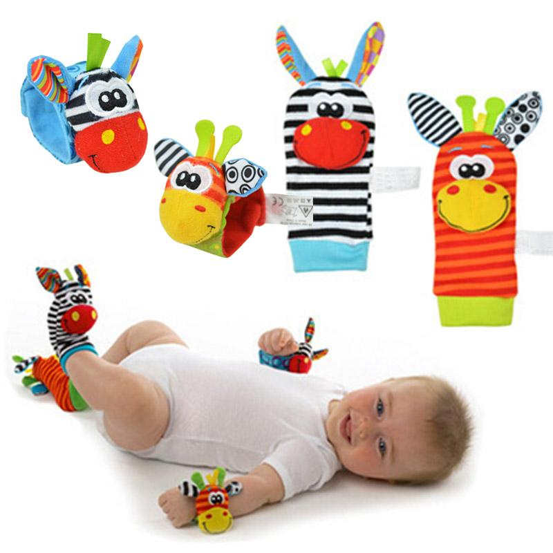2pcs Baby Rattles Stuffed Toys Animal Socks Plush Rattle with Ring Bell Toy For Toddlers Learning Education Toys  UpCube- upcube
