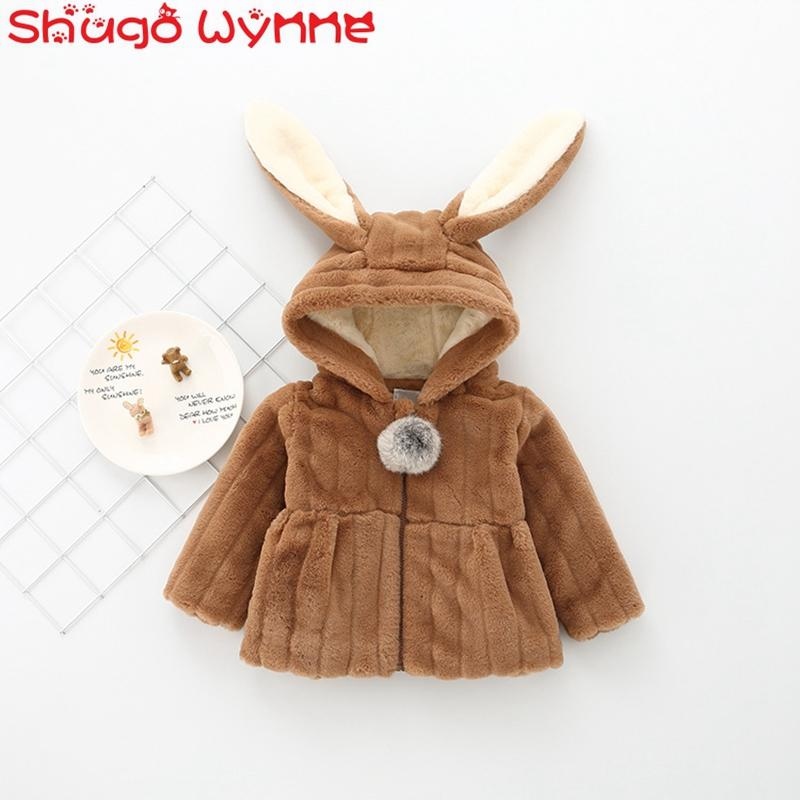 """Winter Baby Girls Faux Fur Long Sleeve Rabbit Ear Hooded Thick Fleece Jacket Coat Kids Princess Warm Outerwear Parkas casaco """