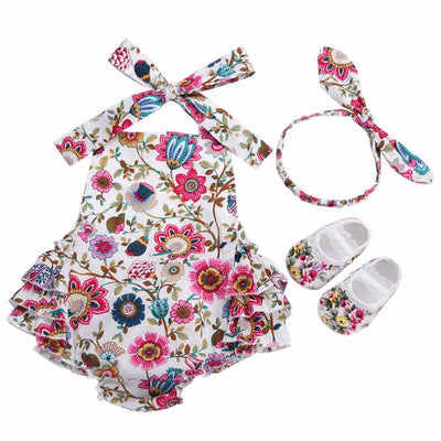 - 0-1 Year First Birthday Baby Show Floral Baby Clothes Girls Cute Headband Bebe Shoes 3 PCS set;Props Cotton Baby Rompers Overall -   jetcube