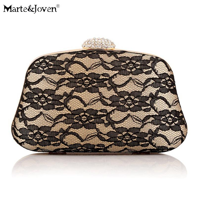Vintage Black Floral Lace Gold Evening Bag for Women Luxury Shell-shaped Handbags Ladies Wedding/Dinner/Party Small Clutch Bag
