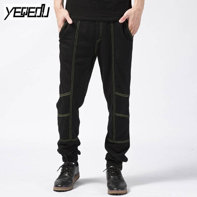 - #1623 2017 Men joggers Sweatpants Fashion Hip hop pants Loose Sarouel homme Pantalon hombre Large size 5XL Black track pants -   jetcube