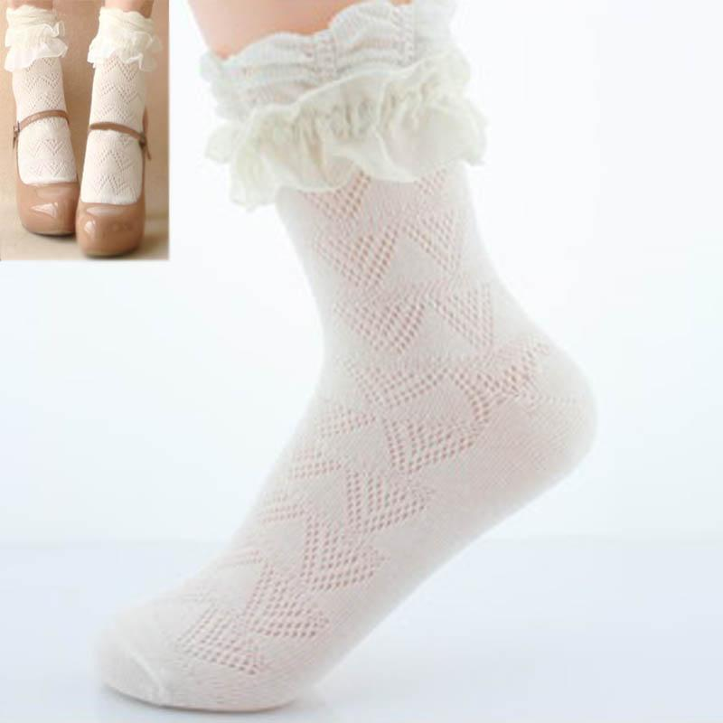 - 1Pair Sweet Women Lace Ruffle Ankle Sock Soft Comfy Cotton Elastic Mesh Knit Frill Trim Ankle Socks Wholesale Newest - Default Title  jetcube