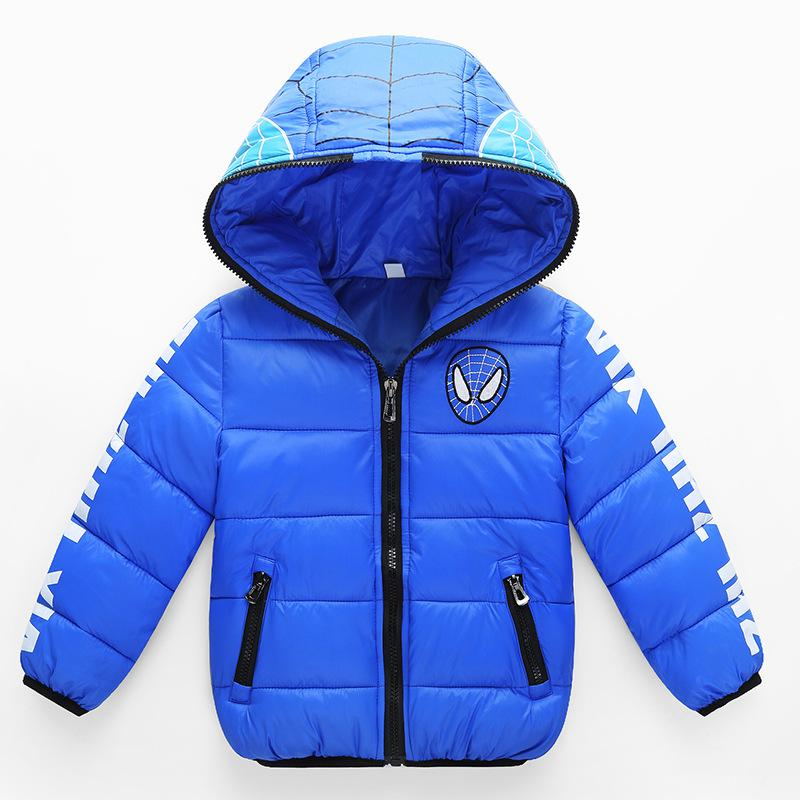 High Quality Boy Girls Winter Down Jacket Outerwear Children Spiderman Zipper Hooded Down Coats Baby Boys Warm Clothes
