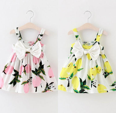 - 0-3Y Summer Baby Girls Dress Bow front Sleeveless Floral Lemon Bowknot Sundress Clothes -   jetcube