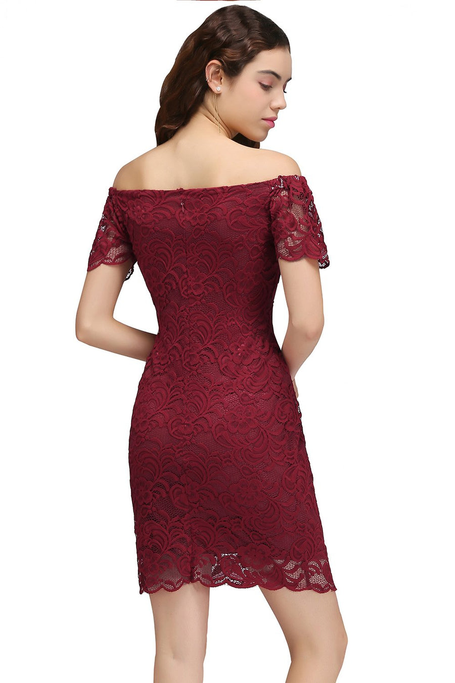 62d144b54651f9 2017 Burgundy Lace Off the Shoulder Bodycon Cocktail Dresses Sexy Short  Prom Dresses Party Dress Gowns