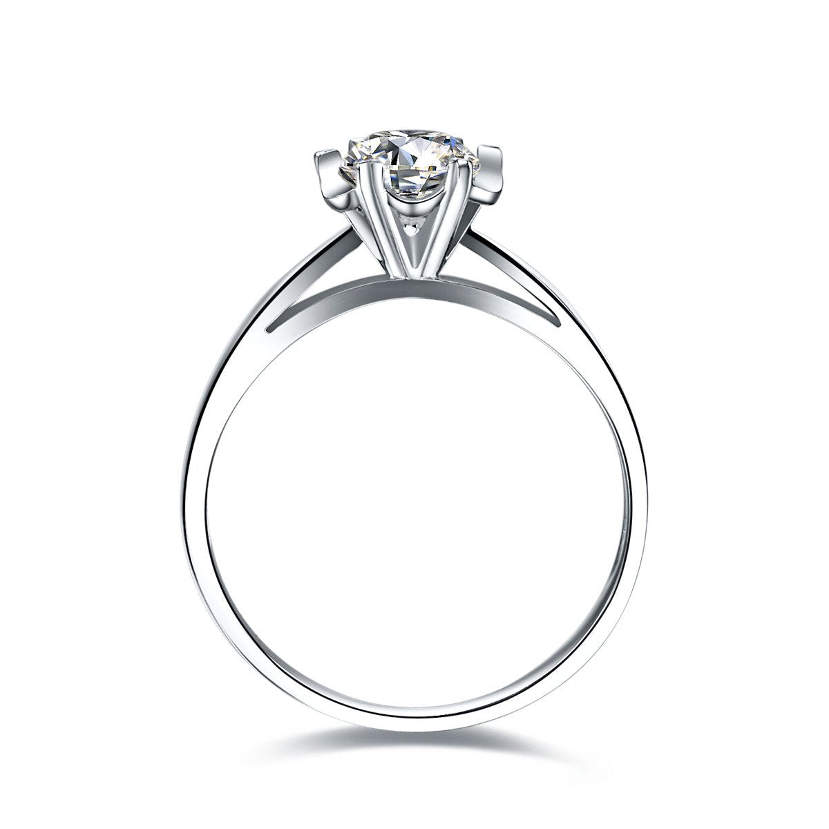 - 0.50ct Solitaire 18K White Gold GIA Diamond Ring for Women Handmade Wedding Band Engagement Natural GIA Diamond Jewelry -   jetcube