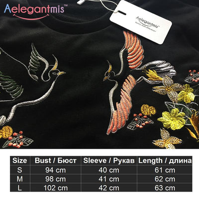 2017 Autumn Casual Floral Embroidery Sweatshirts Women Long Sleeve Pullover Fall Black Embroidered Hoodies Female Sweatshirt