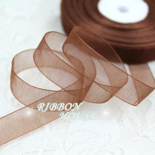 - (50 yards/roll) 1/2''(12mm) organza ribbons wholesale gift wrapping decoration Christmas ribbons - Coffee  jetcube