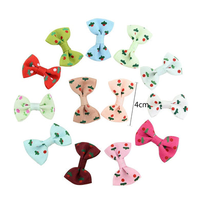 - 10 Pcs/ Lot Kids Mini Bow Whole Wrapped Safety Hair Clips Cute Solid Dot Stripe Printing Hairpins For Girls 731 - 6  jetcube