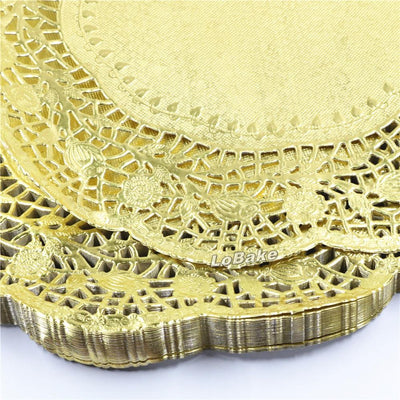 - (100 pieces/pack) New arrivals 12 inches gold colored round paper lace doilies cupcake bread placemats home dinner tableware -   jetcube