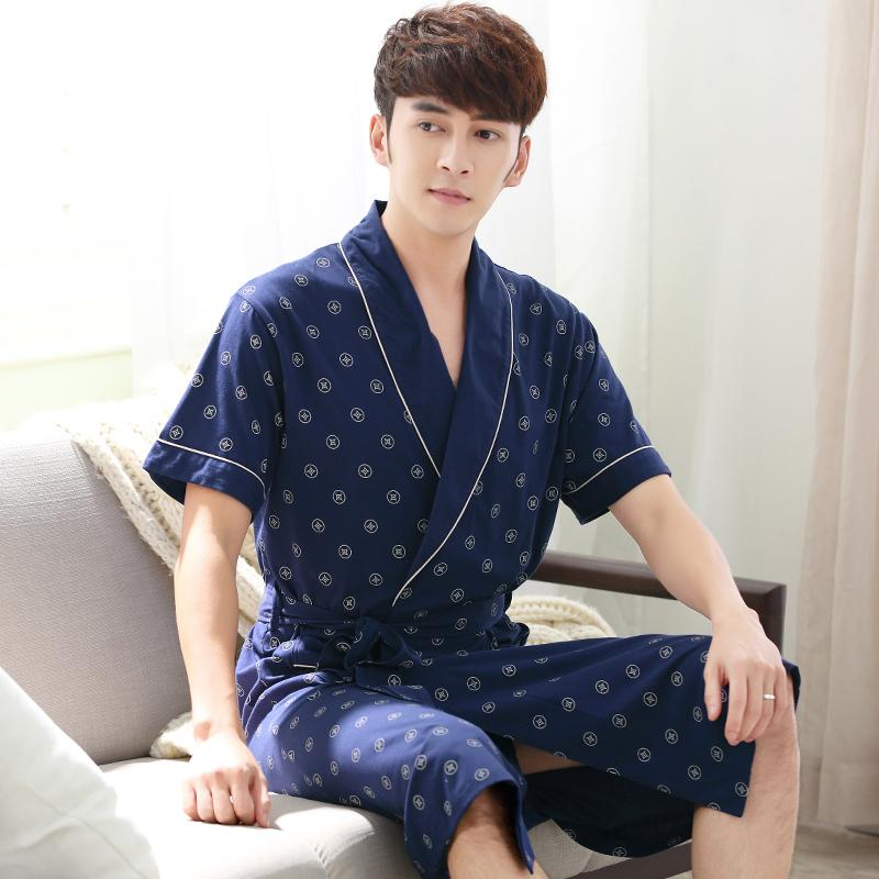 Summer 100 Cotton Knited Robe Male V Neck Sexy Dressing Gown Mens