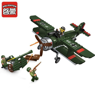 - 1705 ENLIGHTEN WW2 Military Air Defence Biplane Fighter Howitzer Model Building Blocks Figure Toys For Children Compatible Legoe - 1705  jetcube