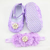 - 0-12 Months Newborn Baby Girl Shoes white baptism Toddler Infant Fabric Booties Flower Headband Set Pearls Lace Princess KU31 - b / 2  jetcube
