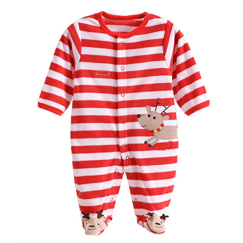 - 0-12M Autumn Fleece Baby Rompers Cute Pink Baby Girl Boy Clothing Infant Baby Girl Clothes Jumpsuits Footed Coverall V20C - MKBCROGL001P02 / 12M  jetcube