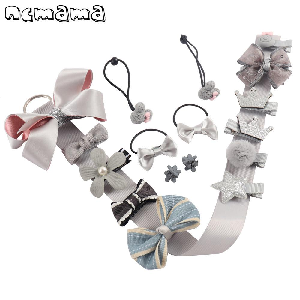 - 18PCS Girls Hair Bows Kits Handmade Hairclips Hair Ties Crown Hairgrips Kids' Barrettes Boutique Hairbands Hair Accessories -   jetcube