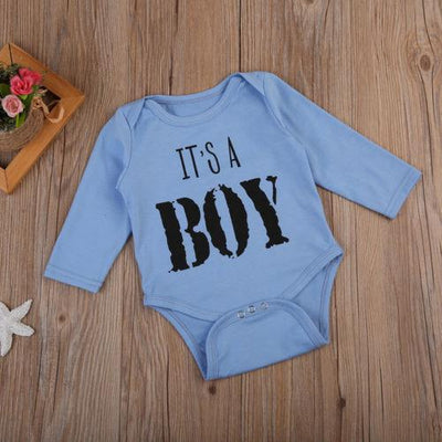 - 0-18M Toddler Baby Boy Autumn Clothes Outfit Long Sleeve Cotton Letter Romper Baby Clothing -   jetcube