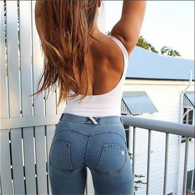 Women Full Hip Skinny High Waist Stretch Jeans Fashion Solid Push Up Blue Sexy Denim Jeans For Female Fashion Slim Pencil Pants