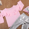 - 0-3T Infant Baby Girl Clothes Sets Long Sleeve Tops Sweatshirt T-Shirts Pants Hat Bow 3pcs Outfits Clothing Set -   jetcube
