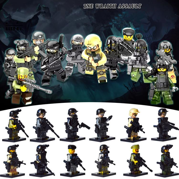 SET 6PCS SWAT American leopard raids on armed forces weapon Toys Custom