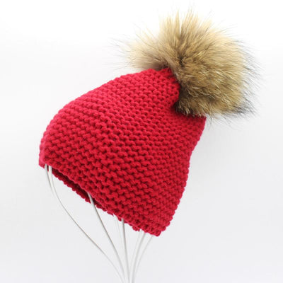 - 2016 Fashion Knitted Baby Hats Boy Winter Outdoor Ear Protection Beanies Caps Pom pom Real Fur Hat Kids - wine red  jetcube