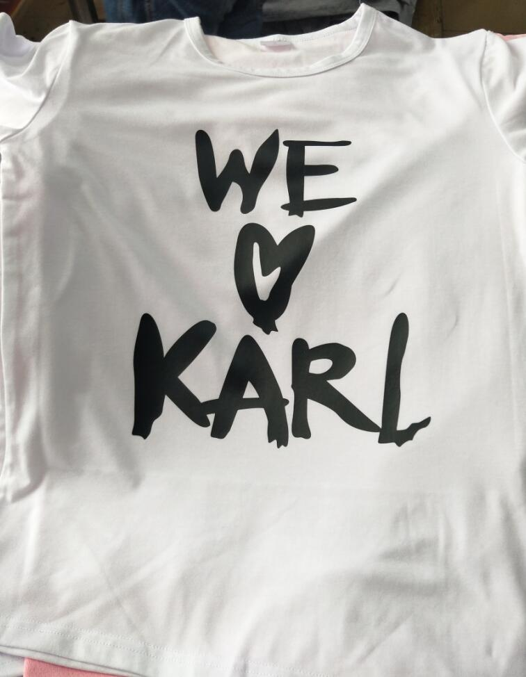 d38d2531b4151 Free Shipping Casual tshirts Crewneck WE LOVE KARL t-shirt Style Outfits  Short Sleeve Tees