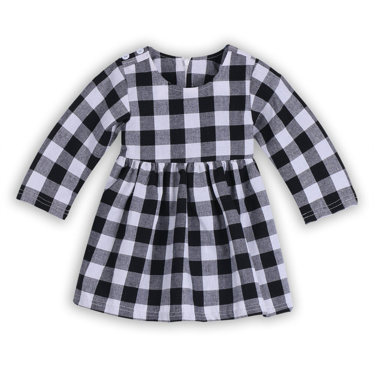 2017 Autumn Spring Style New Fashion Black White Plaid Girl Dresses long Sleeve Baby Kids Clothing Casual Girl Dress Vestidos