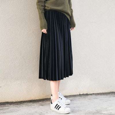 - (With lining) Korean velvet pure blue retro long pleated skirt pleated skirt -   jetcube