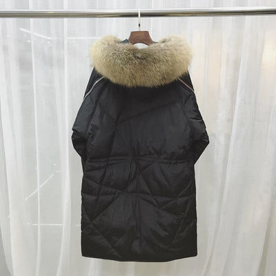 - (TopFurMall)European Winter Women Parkas Down Coats Raccoon Fur Hoody Lady Warm Outerwear Overcoat LF4181 -   jetcube