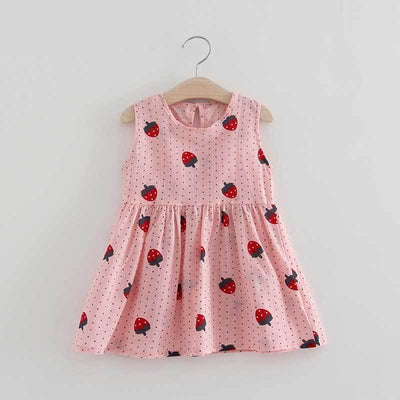- 2-7y Girls Clothing Summer Girl Dress Children Kids Berry Dress Back V Dress Girls Cotton Kids Vest dress Children Clothes 2017 - pinkstrawbery / 2T  jetcube