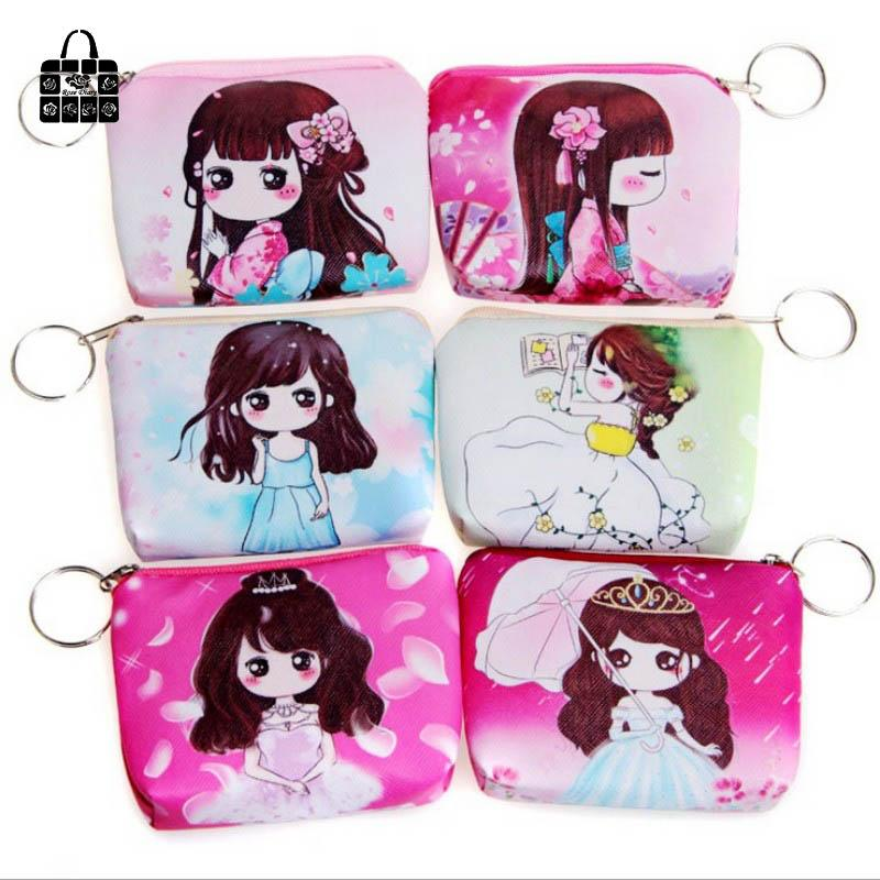 1 pcs RoseDiary Women cartoon Coin Purse PU Leather children Wristlet lady Wallet Girl Change Pocket Pouch zipper Bag Keys Case