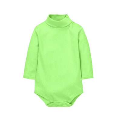 - 12 Color Baby Clothes 0-24M Newborn baby boy girl clothes Jumpsuit Long Sleeve Infant Product solid turtleneck Baby Rompers - Green / 12M  jetcube