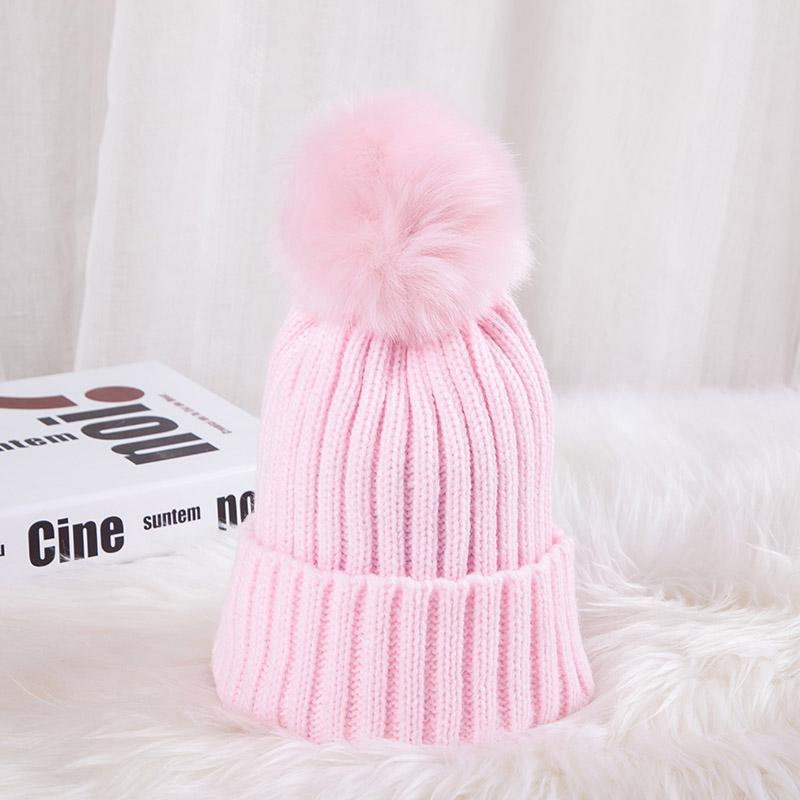 - 0926XB Skullies & Beanies Kid Solid Hats Real pompom hat winter hats for women knitted hat beanie women girls 10 colorst XB-A415 - Pink / Children  jetcube