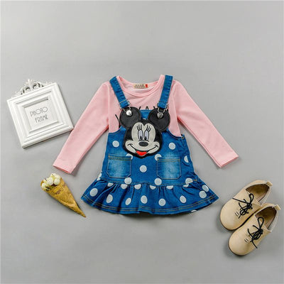 - 0-4 ages cotton 2017 autumn winter cute character children baby girl clothing dress+T-shirt baby girl dress clothing set - Pink / 12M  jetcube