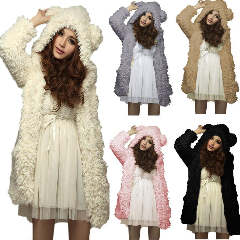 Hoodies Sweatshirt Fleece Fur Coat 2018 Women Winter Warm Soft Jacket Teddy Bear Ears Thick Overcoat Hooded Hoody Long Outerwear