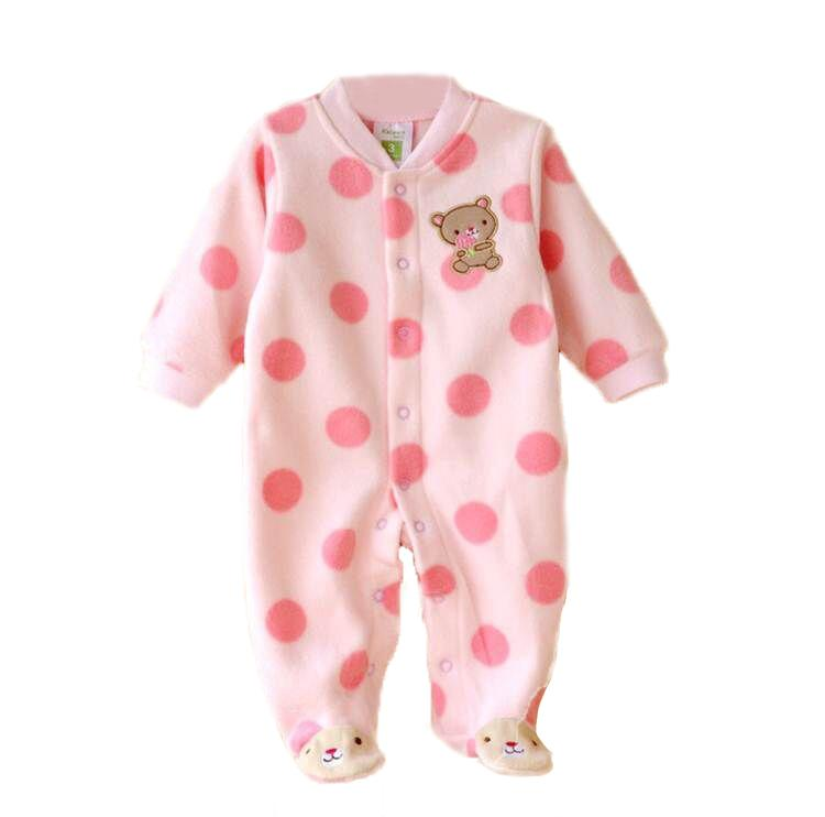 - 0-12M Autumn Fleece Baby Rompers Cute Pink Baby Girl Boy Clothing Infant Baby Girl Clothes Jumpsuits Footed Coverall V20C - MKBCROGL001P04 / 12M  jetcube
